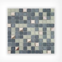 Ice Mix Glass & Stainless Steel Mosaic 23x23 on 300x300mm Sheet