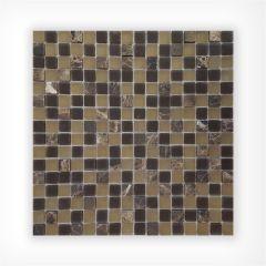 Emperador Frosted Glass Mix Mosaic 15x15 on 300x300mm
