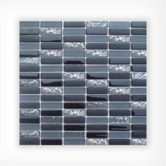 Sketch Black Glass Mosaic 15x48 on 300x300mm Sheet