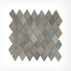 Diamond Marble & Glass Mix Mosaic 38x58 on 288x307mm Sheet
