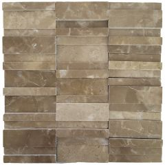Persia Grey Marble Polished 3D Mosaic 300x300