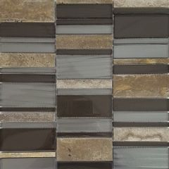 Arki Stone Mixed Strips Stone & Glass Mix Mosaic 300x300mm