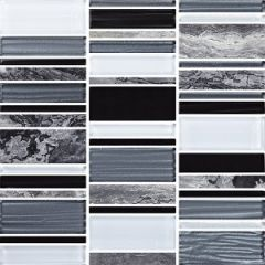 Arki Shadow Mixed Strips Stone & Glass Mix Mosaic 300x300mm