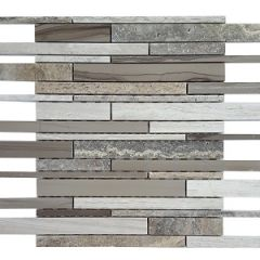 Arki Earth Mixed Bullets Stone & Glass Mix Mosaic 300x300mm