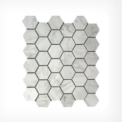 Italian Carrara Hexagonal Mosaic Honed