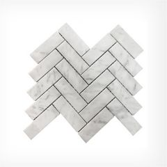 Italian Carrara Large Herringbone Marble Mosaic Honed