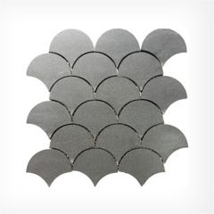 Bluestone Fanned (Fish Scale) Natural Stone Mosaic Honed