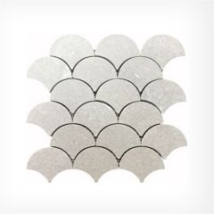 Grey Marble Fanned (Fish Scale) Marble Mosaic Honed