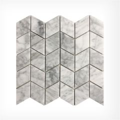 Italian Carrara Chevron Marble Mosaic Honed