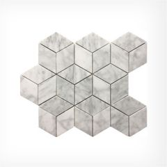Italian Carrara Cube Mosaic Honed