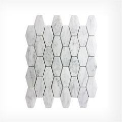 Italian Carrara Long Hexagonal Mosaic Honed