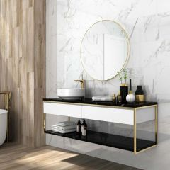 Glossy Vein White Polished 600x600mm Marble-look Porcelain Wall & Floor Tile
