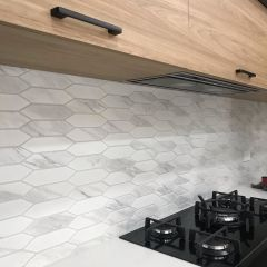 Italian Carrara Picket Mosaic Honed