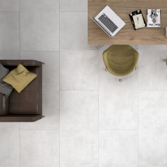 Cement White Textured Finish 600x600mm Porcelain Wall & Floor Tile