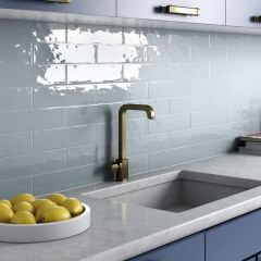 Cottage Ash Blue Gloss 75x300mm Ceramic Subway Wall Tiles