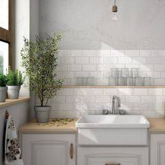 Cottage White Gloss 75x300mm Ceramic Subway Wall Tiles