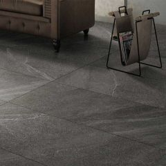 Limestone Dark Grey External 300x600mm Porcelain Floor Tile R11