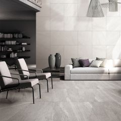 Limestone Light Grey Lappato 600x600mm Porcelain Wall & Floor Tile