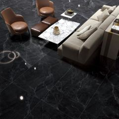 Marmi Grande Marquina Polished 750x1500mm Porcelain Slab Tiles