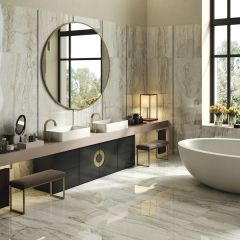 Oro Bianco Polished 600x600mm Travertine-look Porcelain Wall & Floor Tile
