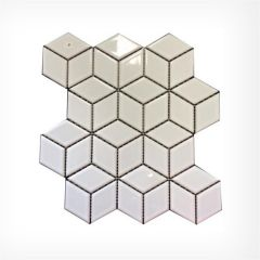 Rubix Cube White Gloss Geometric Mosaic Tiles