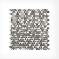 Penny Round Grey Gloss Mix Circular Mosaic Tiles