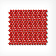 Penny Round Red Gloss Circular Mosaic Tiles