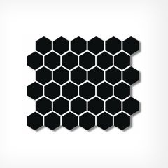 Large Honeycomb Black Gloss Hexagonal Mosaic Tiles