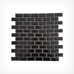 Subway Micro Bevelled Gloss Black Mosaic Tiles