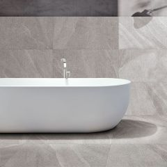 Limestone Light Grey Matt 600x600mm Porcelain Wall & Floor Tile