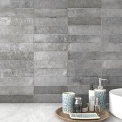 Tribeca Grey Whisper Gloss 60x246 Porcelain Subway Wall Tiles