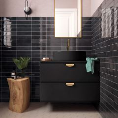 Tribeca Basalt (Black) Gloss 60x246 Porcelain Subway Wall Tiles