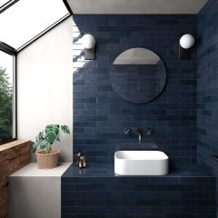 Tribeca Blue Note (Navy) Gloss 60x246 Porcelain Subway Wall Tiles