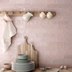 Tribeca Tea Rose (Pink) Gloss 60x246 Porcelain Subway Wall Tiles