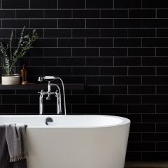 Urban Subway Plain Black Matt 75x300 Wall Tile                                             .